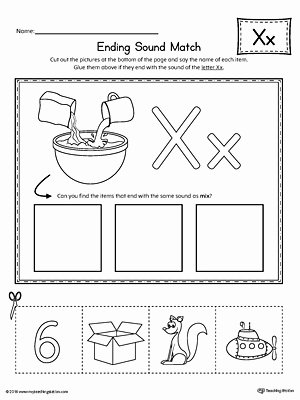 Printable Letter X Worksheets for Preschoolers Unique Letter X Ending sound Picture Match Worksheet