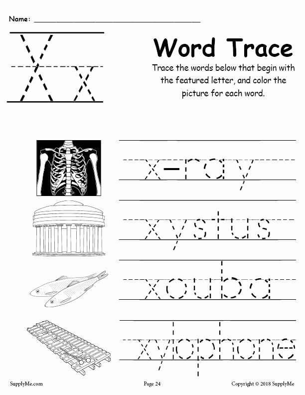 Printable Letter X Worksheets for Preschoolers Unique Letter X Words Alphabet Tracing Worksheet