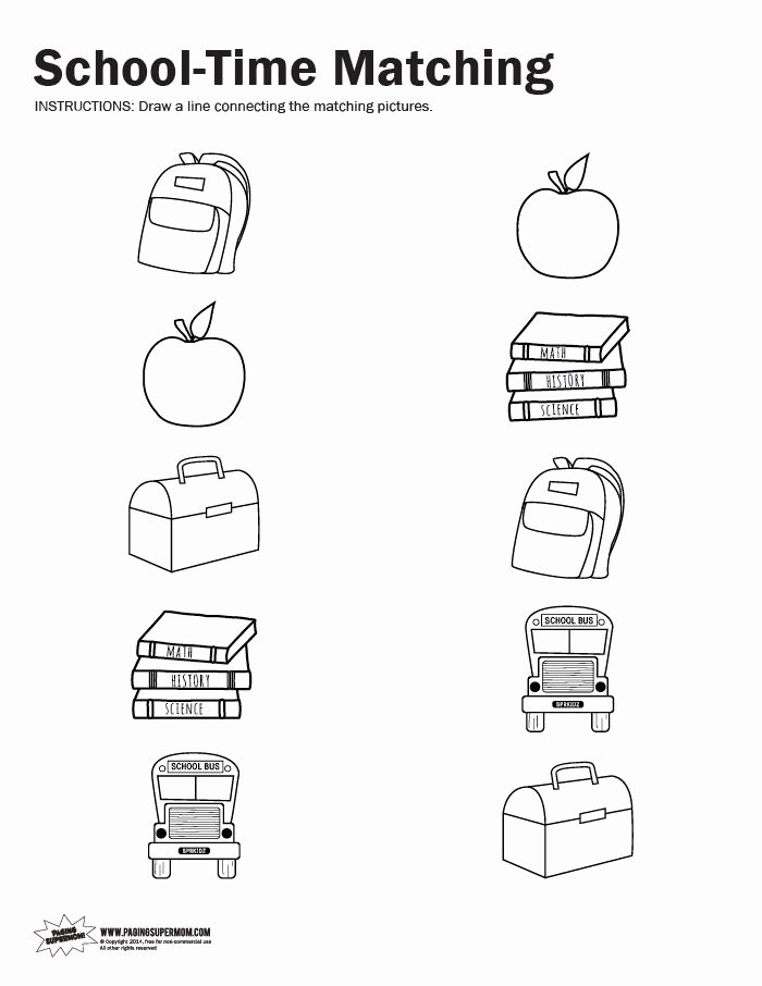 Printable Matching Worksheets for Preschoolers Best Of School Time Matching Printable Worksheet Paging Supermom