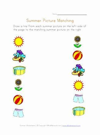 Printable Matching Worksheets for Preschoolers Lovely Summer Picture Matching Worksheet
