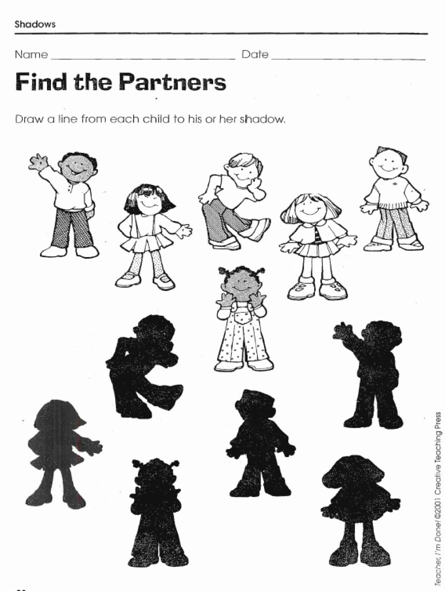 Printable Matching Worksheets for Preschoolers top Shadow Matching Worksheets Lovetoteach org for Preschool Xl