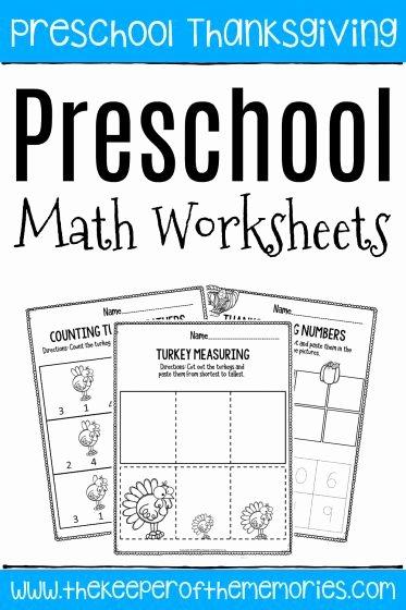 Printable Math Worksheets for Preschoolers Lovely Printable Math Thanksgiving Preschool Worksheets