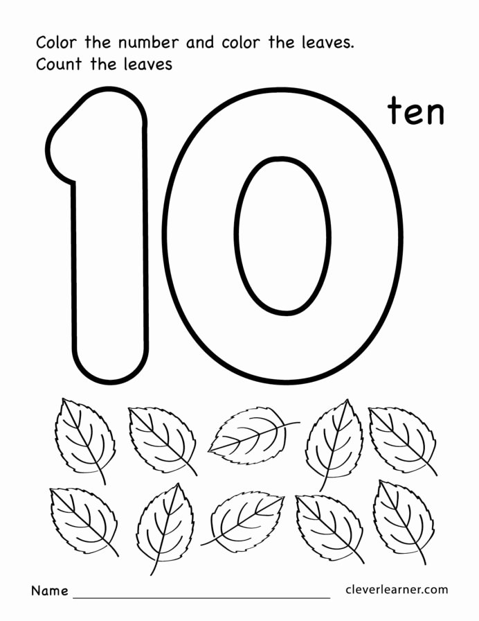 Printable Numbers Worksheets for Preschoolers Beautiful Number Ten Writing Counting and Identification Printable