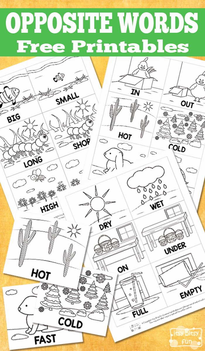 Printable Opposite Worksheets for Preschoolers Beautiful Free Opposite Words Printables Itsybitsyfun