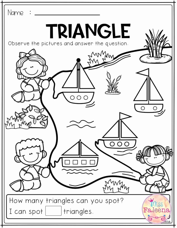 Printable Opposite Worksheets for Preschoolers Inspirational Free Kindergarten Math Practice Triangle Worksheets