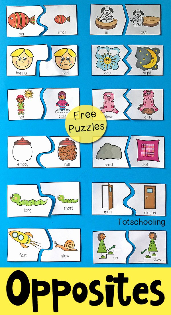 Printable Opposite Worksheets for Preschoolers Inspirational Opposites Puzzles for Preschool