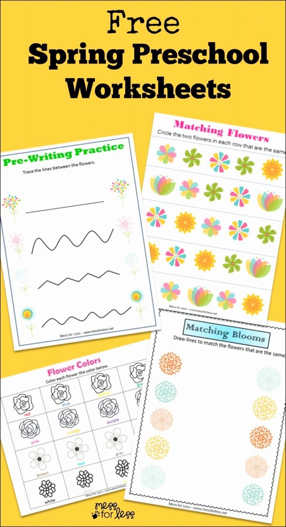 Printable Spring Worksheets for Preschoolers Unique Free Spring Preschool Worksheets Mess for Less