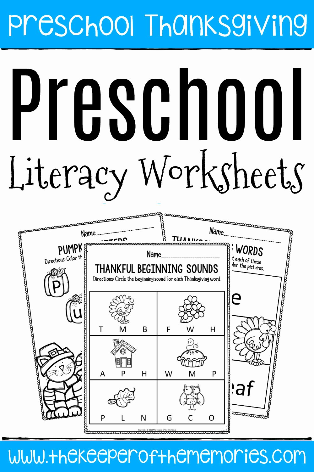 Printable Thanksgiving Worksheets for Preschoolers Fresh Printable Literacy Thanksgiving Preschool Worksheets