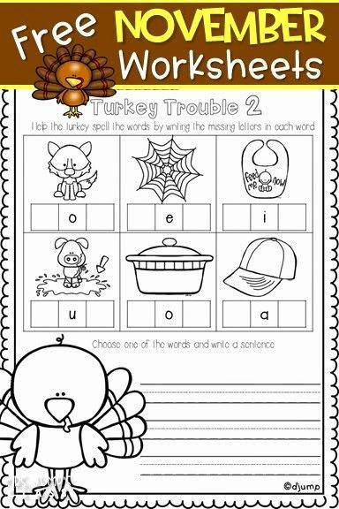 Printable Thanksgiving Worksheets for Preschoolers top Free November Worksheets for Kindergarten or First Grade