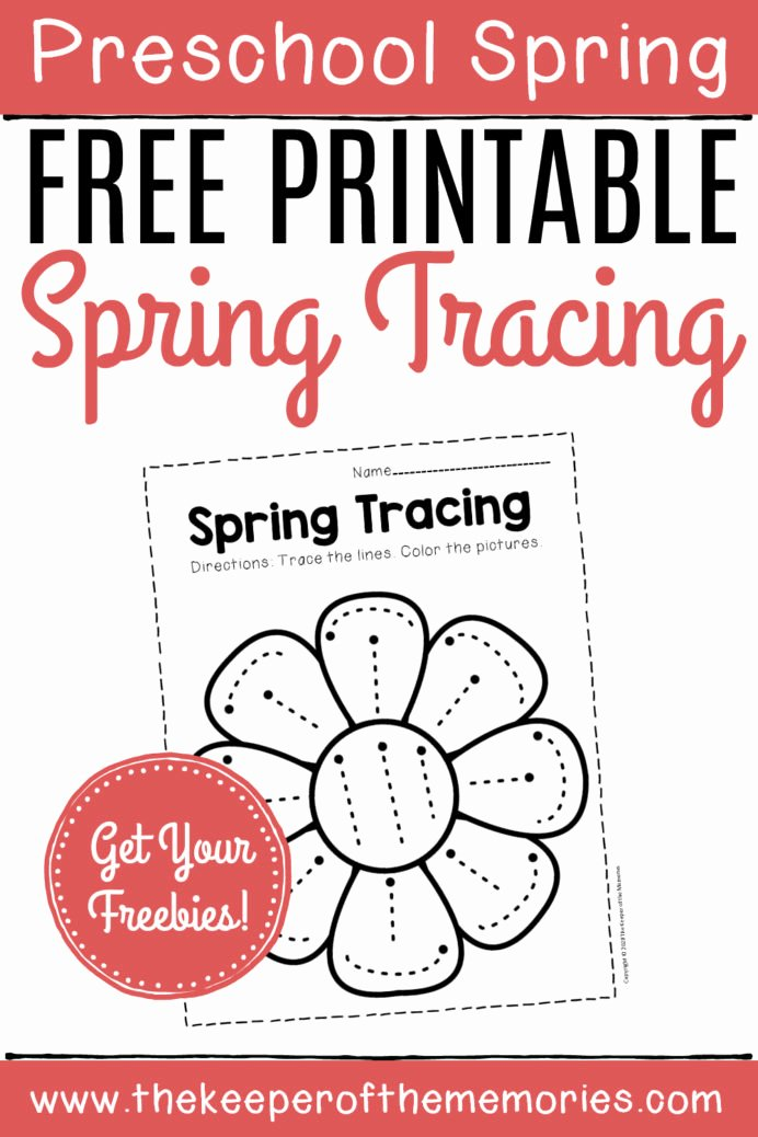 Printable Tracing Worksheets for Preschoolers New Free Printable Tracing Spring Preschool Worksheets the