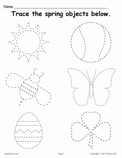 Printable Tracing Worksheets for Preschoolers top Printable Spring themed Tracing Worksheet Preschool