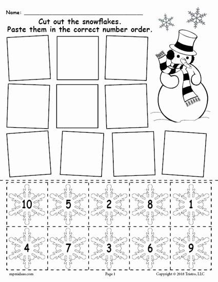 Printable Winter Worksheets for Preschoolers Beautiful Printable Snowflake Number ordering Worksheet Numbers 1 10