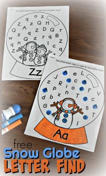 Printable Winter Worksheets for Preschoolers Unique Free Snow Globe Letter Find