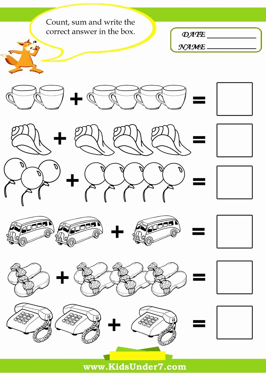 Printable Worksheets for Preschoolers Math New Add the Printable Worksheet