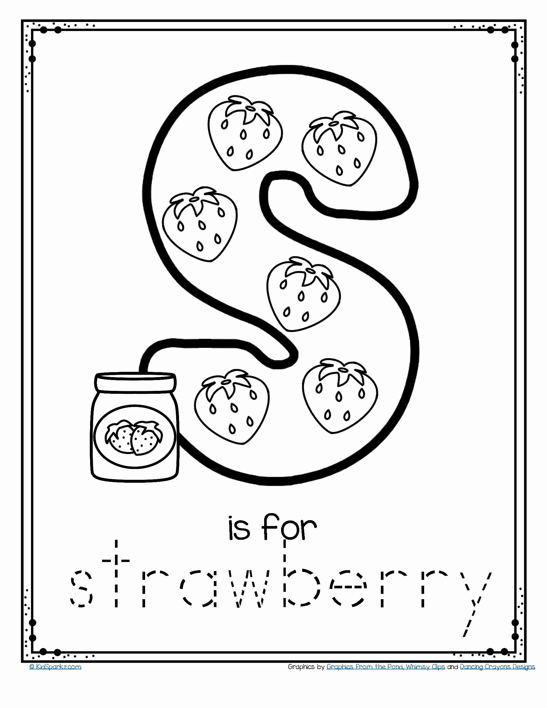 Printable Worksheets for Preschoolers Math top Worksheets Free is for Strawberry Alphabet Letter