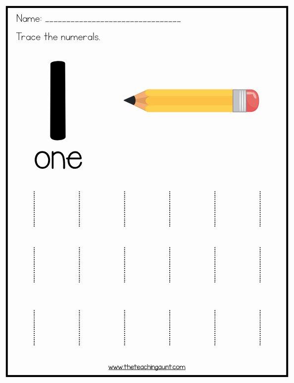 Printable Worksheets for Preschoolers Numbers Inspirational Number Tracing Worksheets for Preschoolers the Teaching Aunt