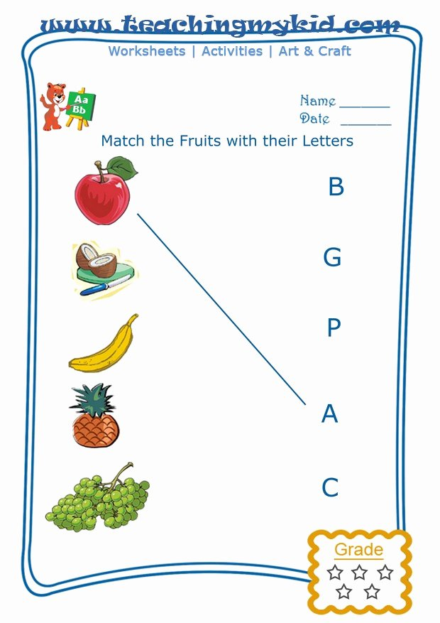 Printable Worksheets for Preschoolers to Write their Name Inspirational Preschool Printable Worksheets Match Fruits with First