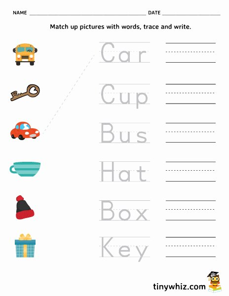 Printable Writing Worksheets for Preschoolers top Worksheet Match Trace and Write Free Printable