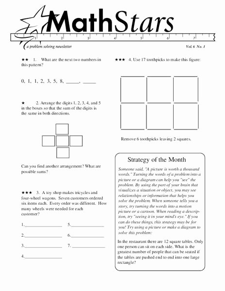 Problem solving Worksheets for Preschoolers Lovely Math Stars Problem solving Newsletter Grade Worksheet for