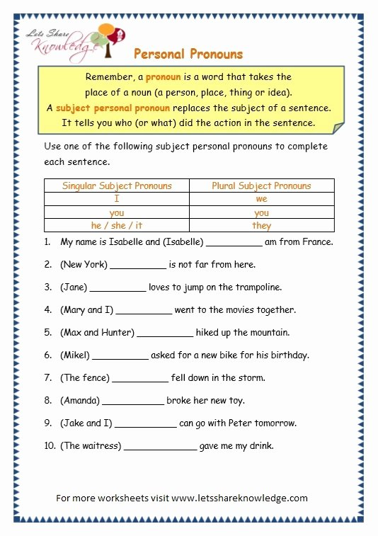 Pronoun Worksheets for Preschoolers Best Of Grade Grammar topic Personal Pronouns Worksheets Lets