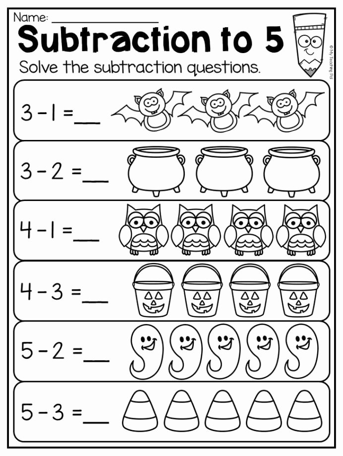 Pumpkin Math Worksheets for Preschoolers Inspirational Kindergarten Halloween Worksheet Pack Subtraction Math