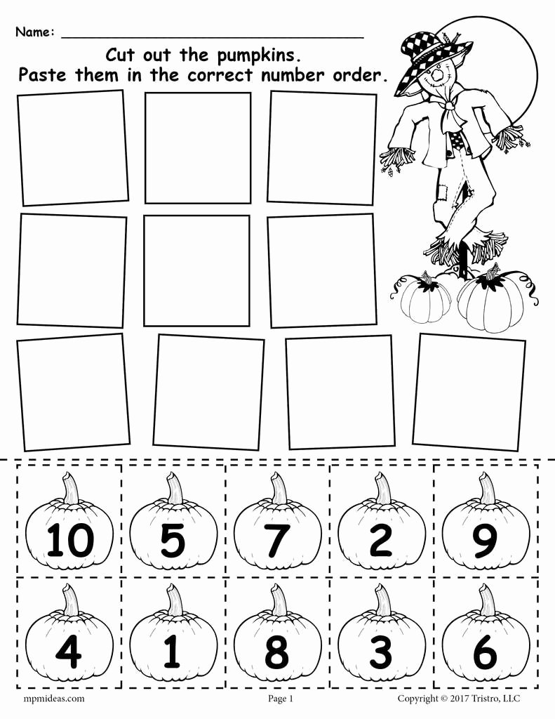 Pumpkin Math Worksheets for Preschoolers top Printable Pumpkin Number ordering Worksheet 1 10
