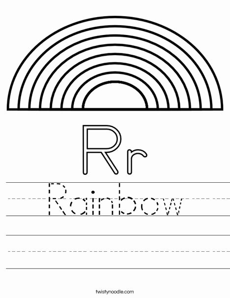 Rainbow Worksheets for Preschoolers Awesome R is for Rainbow Worksheet