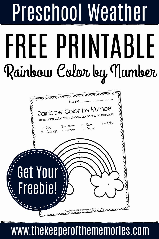 Rainbow Worksheets for Preschoolers Fresh Free Printable Color by Number Rainbow Preschool Worksheet