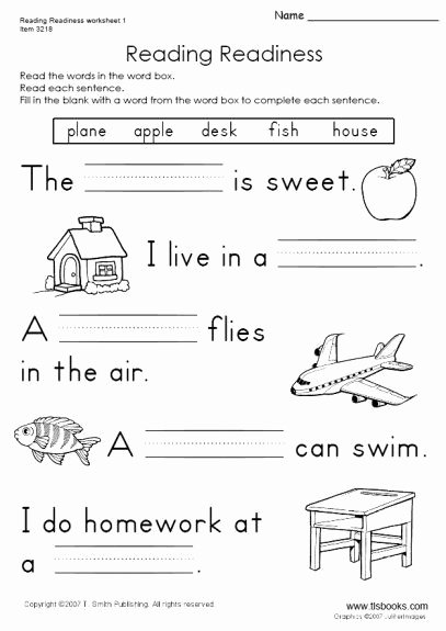 Reading Readiness Worksheets for Preschoolers New Reading Readiness Worksheet 1