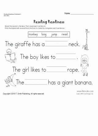 Reading Readiness Worksheets for Preschoolers Unique Reading Readiness Worksheet 6