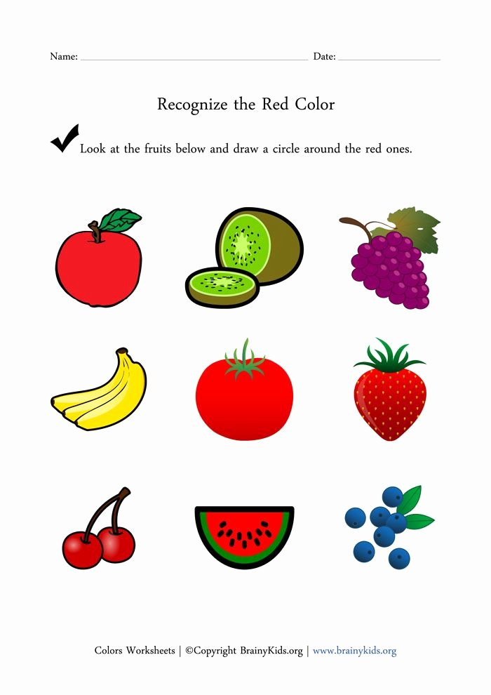Recognizing Colors Worksheets for Preschoolers Awesome Recognize the Red Color Fruits Worksheet for Early