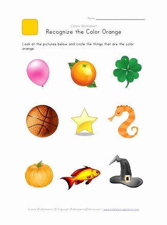 Recognizing Colors Worksheets for Preschoolers Beautiful Recognize the Color orange Colors Worksheet for Kids