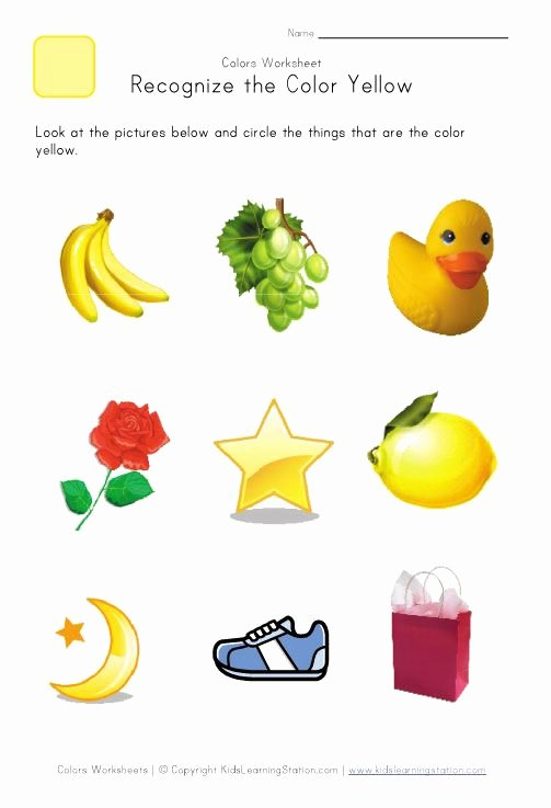 Recognizing Colors Worksheets for Preschoolers Lovely Recognize the Color Yellow Colors Worksheet for Kids