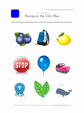 Recognizing Colors Worksheets for Preschoolers top Recognize the Color Blue Colors Worksheet for Kids