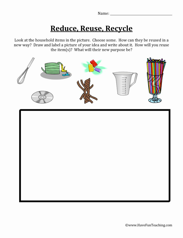 Recycling Worksheets for Preschoolers Fresh Reduce Reuse Recycle Items Worksheet