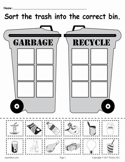 Recycling Worksheets for Preschoolers Lovely sorting Trash Earth Day Recycling Worksheets 4 Printable