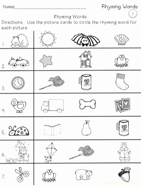 Rhyming Words Worksheets for Preschoolers Awesome Rhyming Words for Kids Worksheets