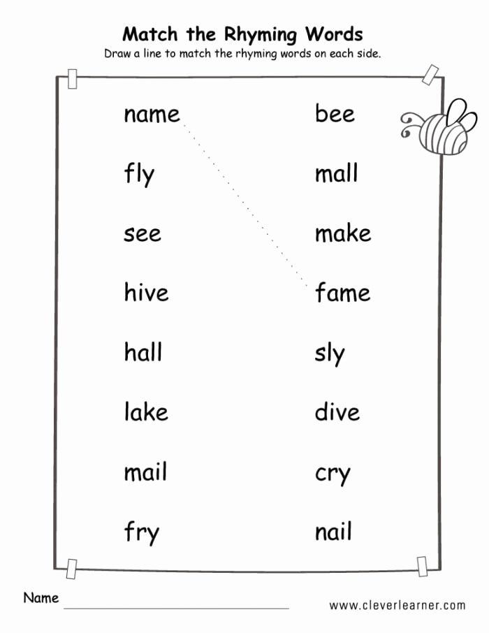 Rhyming Words Worksheets for Preschoolers Beautiful 20 Rhyming Words Worksheets for Kindergarten