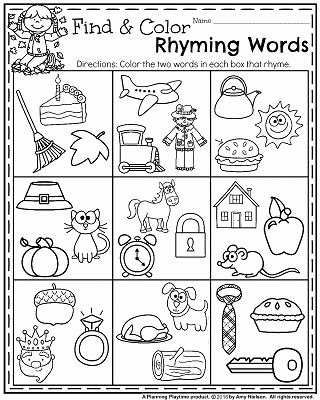 Rhyming Words Worksheets for Preschoolers Lovely Fall Kindergarten Worksheets for November Planning