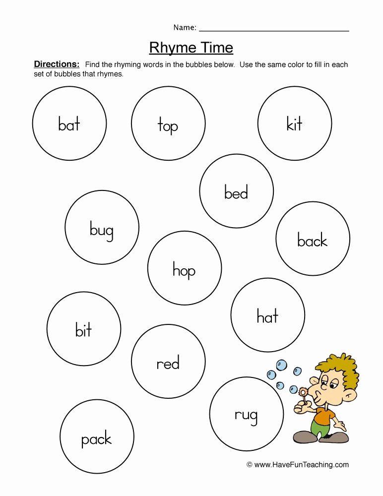 Rhyming Words Worksheets for Preschoolers New Rhyming Words Pairs Worksheet