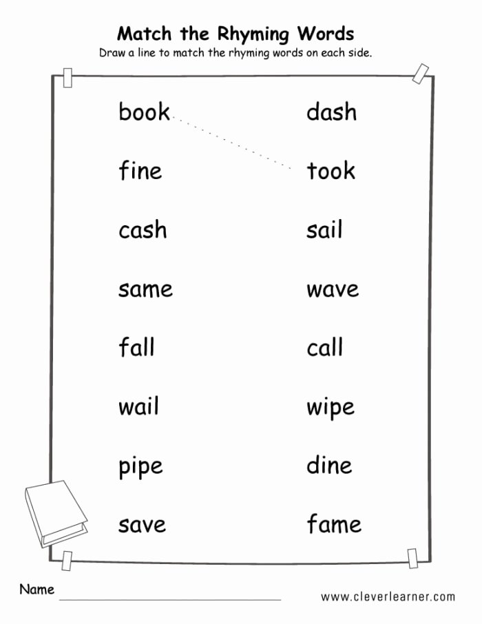 Rhyming Words Worksheets for Preschoolers Unique Matching Rhyming Words Worksheets