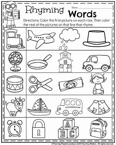 Rhyming Worksheets for Preschoolers Awesome Back to School Kindergarten Worksheets Planning Playtime