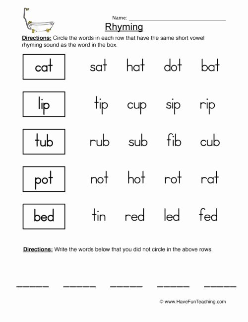 Rhyming Worksheets for Preschoolers Awesome Rhyming Words for Kids Worksheets