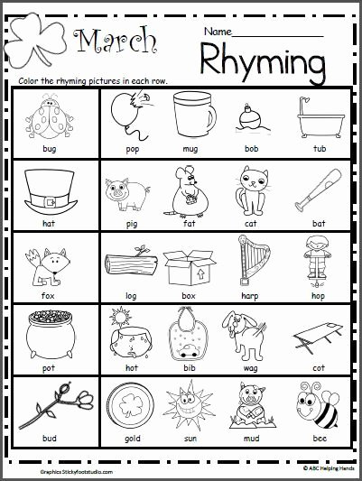 Rhyming Worksheets for Preschoolers Best Of March Rhyming Worksheet