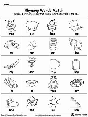 Rhyming Worksheets for Preschoolers Best Of Rhyming Words Match