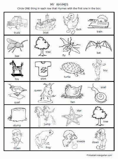 Rhyming Worksheets for Preschoolers Lovely 6 Best Of Free Printable Rhyming Words Worksheets