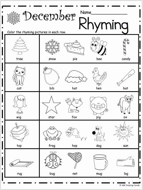 Rhyming Worksheets for Preschoolers Lovely Free Kindergarten Rhyming Worksheets for December