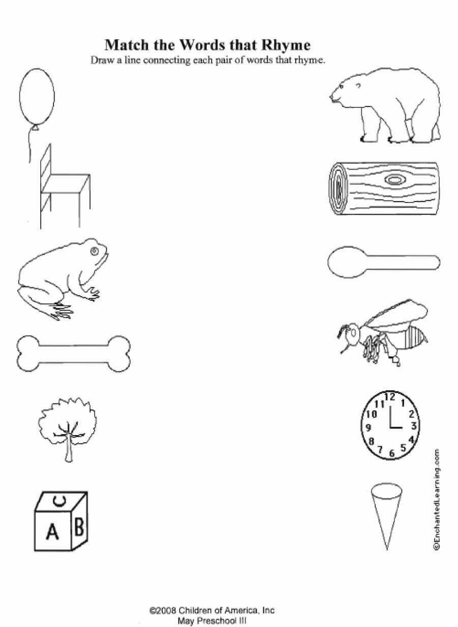 Rhyming Worksheets for Preschoolers top Rhyming Worksheets