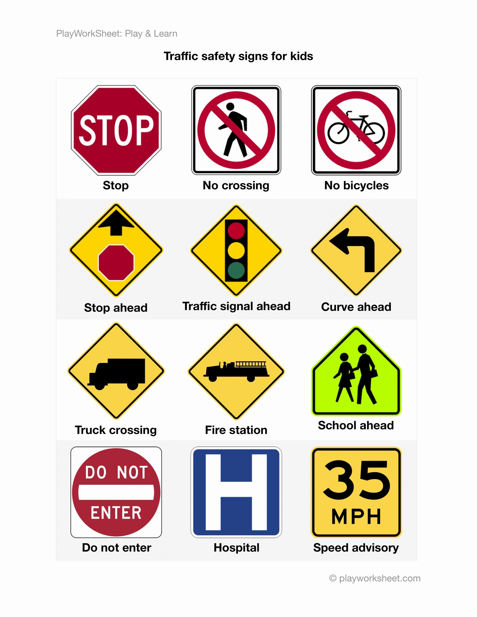 Road Safety Worksheets for Preschoolers top Road Traffic Safety Signs for Kids