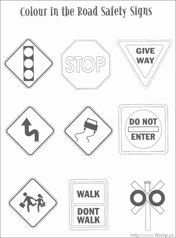 Road Safety Worksheets for Preschoolers top Traffic Safety Signs Coloring Pages